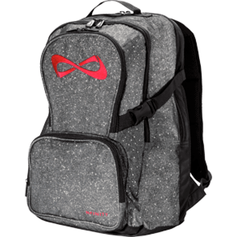 Nfinity Grey Sparkle Red Logo Backpack