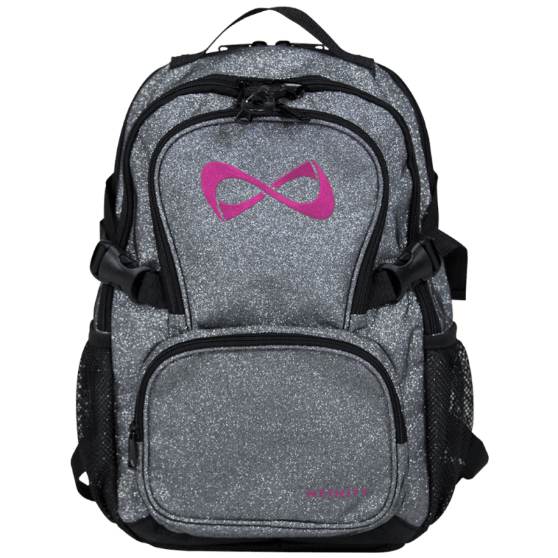 Nfinity PETITE Grey Sparkle Pink Logo Backpack