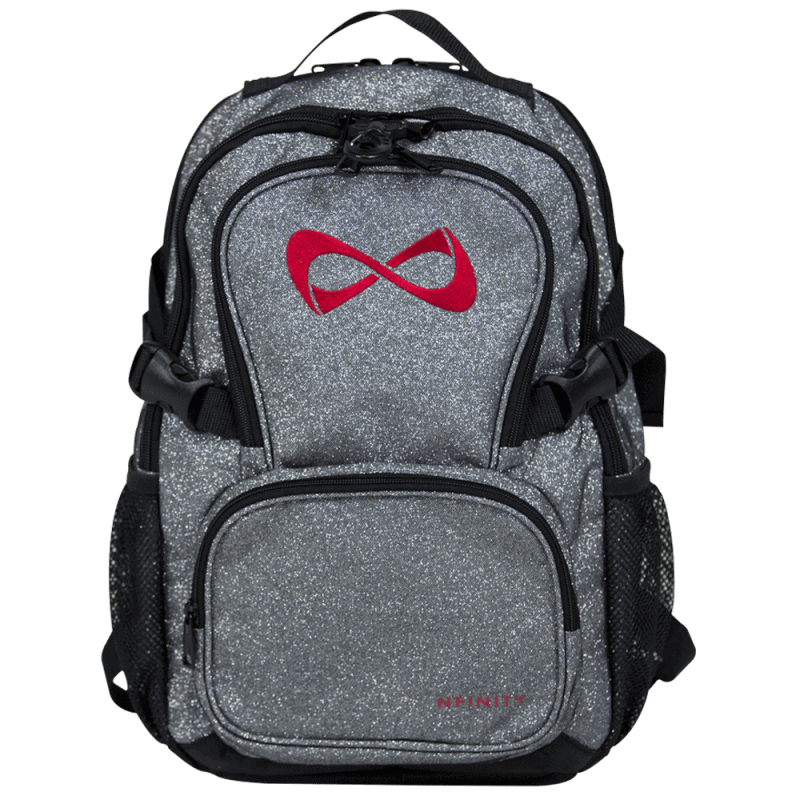 Nfinity PETITE Grey Sparkle Red Logo Backpack