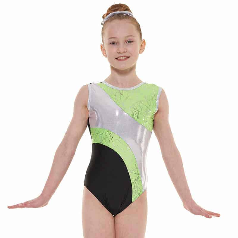 Metallic Scribble Print Sleeveless Gymnastic Leotard G37
