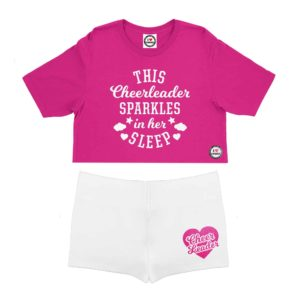 pink and white children pyjama short set