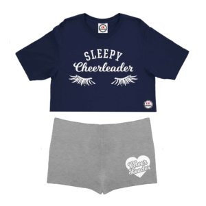 Navy Blue/Heather Childrens Pyjamas Short Set